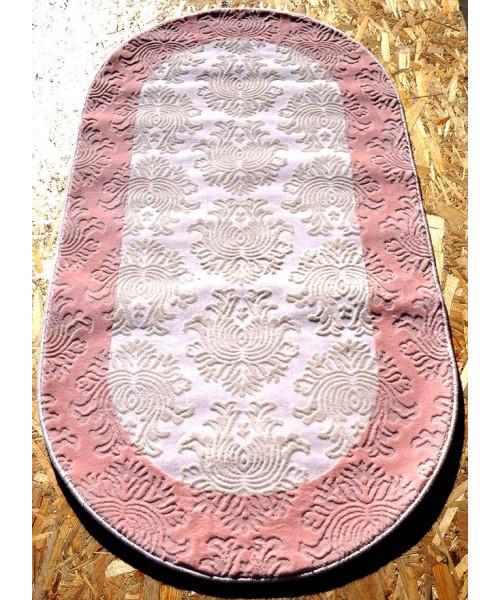 Ковер AMBIANCE 1152 оверлок овальный белый/розовый