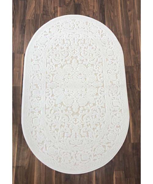 Ковер GLORIA 3793A оверлок овальный белый/белый