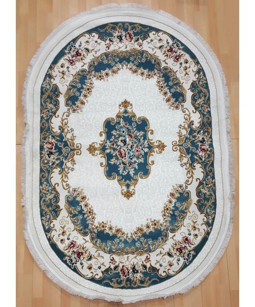 Ковер KQSEM 3908A оверлок овальный белый/голубой