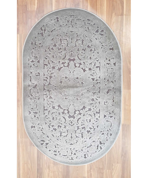 Ковер GLORIA 3793A оверлок овальный серый/серый