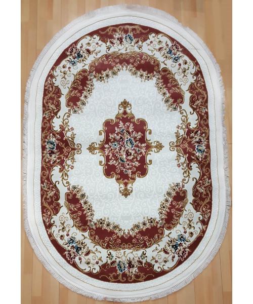Ковер KQSEM 3908A оверлок овальный белый/с.розовый
