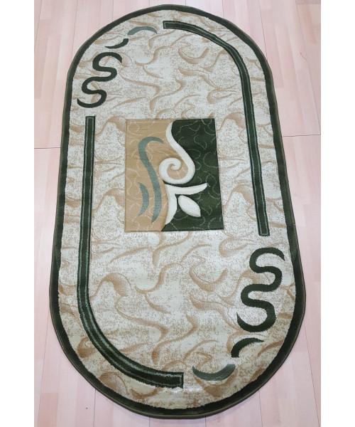 Ковер ESTETIK 0445R оверлок овальный зеленый/зеленый